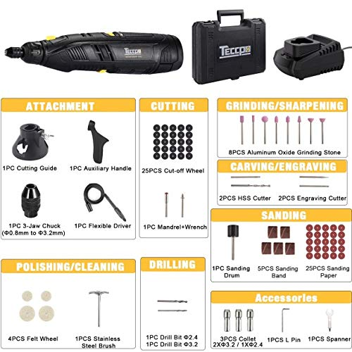 1-Hour Fast Charger Universal Keyless Chuck 80 Accessories TECCPO 12V Powerful Rotary Tool Kit with 2.0Ah Li-ion Battery Cordless Rotary Tool 6-Speeds Adjustable Perfect Gift for DIY /& Crafts