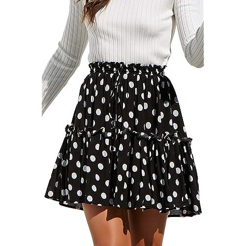 8462b464b9 Hibluco Women' Floral Layered Ruffles Tie up High Waist Short Pleated Skirt
