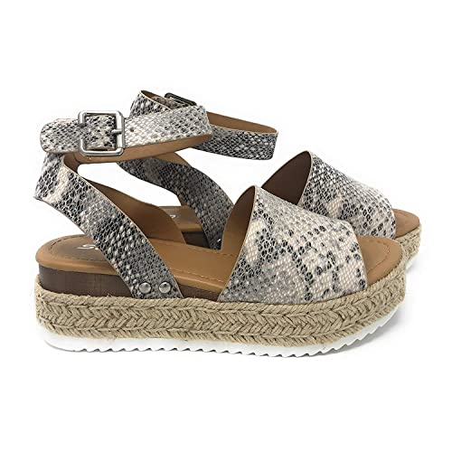 be1aa47e8 Womens Casual Espadrilles Trim Rubber Sole Flatform Studded Wedge Buckle  Ankle Strap Open Toe Sandals