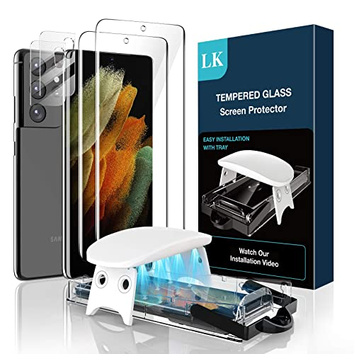 4 Pack AsBellt S21 Ultra Screen Protector Tempered Glass 2pcs+2pcs Camera Lens Protector 6.8 Easy Install Kit Ultra Clear Case Friendly Glass Protector for Samsung Galaxy S21 Ultra 5G Fingerprint Compatible
